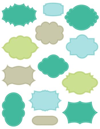 cute border: ollection of different shaped colorful vintage frames isolated on white background