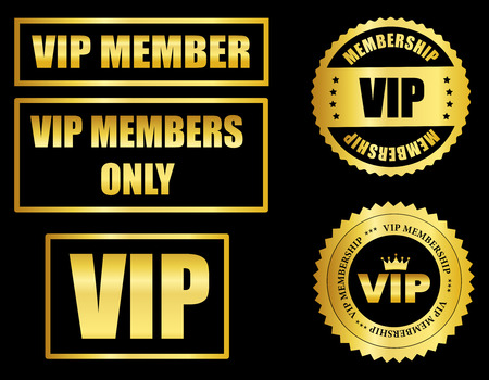 membership: Gold VIP membership seal and stamp collection isolated on black