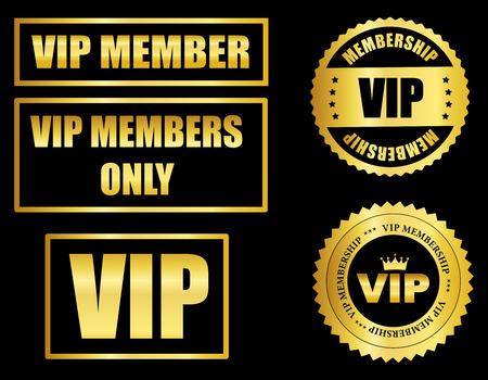 Sceau d'or de membre VIP et collection de timbres isolé sur noir Banque d'images - 38528571