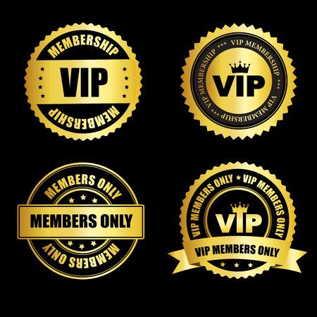 VIP-lidmaatschap goud  zegel collectie met tekst geïsoleerd op een zwarte achtergrond Stock Illustratie
