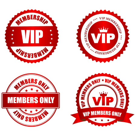 membership: VIP membership red shiny rubber stamp  seal collection with text isolated on white background Illustration