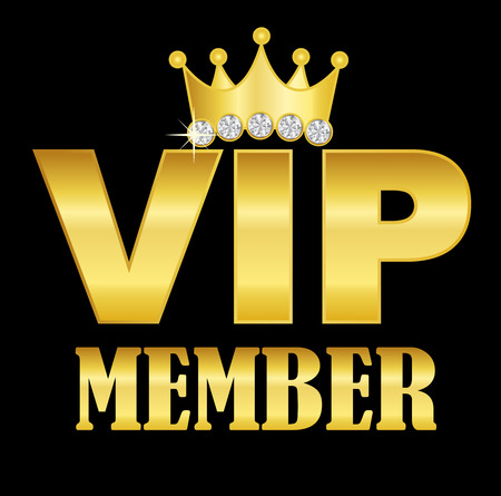 vip badge: VIP member golden text with a crown on letter I