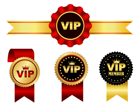 Colorful VIP membership ribbon rosette and seal collection isolated on white Vector