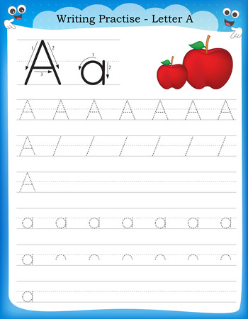 Writing practice letter A  printable worksheet for preschool / kindergarten kids to improve basic writing skills Ilustração