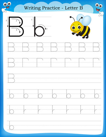 Writing practice letter B  printable worksheet for preschool / kindergarten kids to improve basic writing skills Stock Illustratie