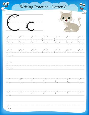 Writing practice letter C  printable worksheet for preschool / kindergarten kids to improve basic writing skills Vectores