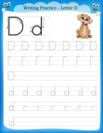 Writing practice letter D  printable worksheet for preschool / kindergarten kids to improve basic writing skills