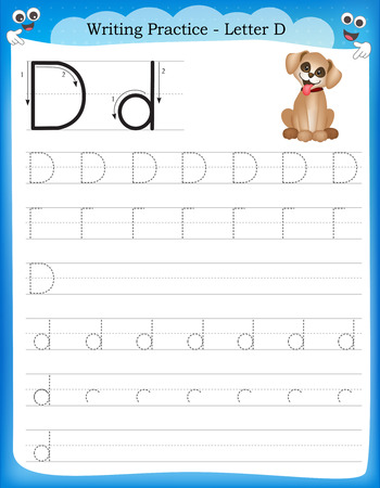 Writing practice letter D  printable worksheet for preschool  kindergarten kids to improve basic writing skills Ilustrace