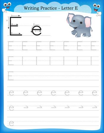 Writing practice letter E  printable worksheet for preschool / kindergarten kids to improve basic writing skills Vettoriali