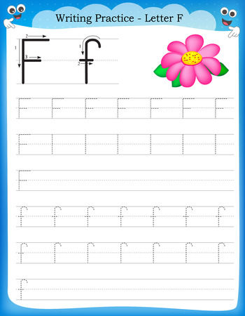 Writing practice letter F  printable worksheet for preschool / kindergarten kids to improve basic writing skills