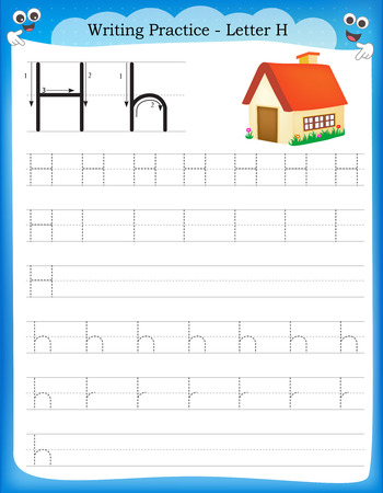 letter h: Writing practice letter H  printable worksheet for preschool  kindergarten kids to improve basic writing skills