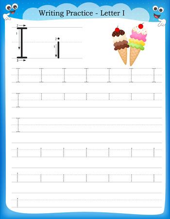 Writing practice letter I  printable worksheet for preschool / kindergarten kids to improve basic writing skills
