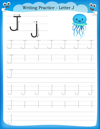 Writing practice letter J  printable worksheet for preschool / kindergarten kids to improve basic writing skills