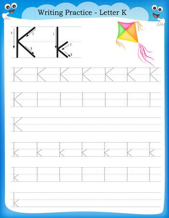 Writing practice letter K  printable worksheet with clip art for preschool / kindergarten kids to improve basic writing skills