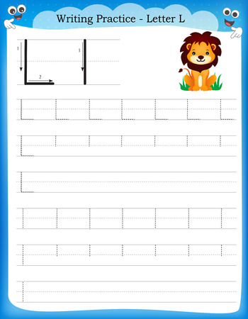 Writing practice letter L printable worksheet with clip art for preschool / kindergarten kids to improve basic writing skills