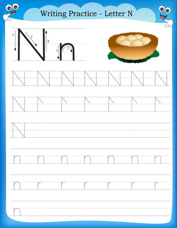Writing practice letter N  printable worksheet with clip art for preschool / kindergarten kids to improve basic writing skills