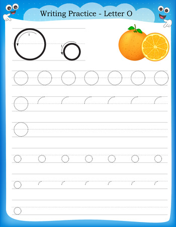 Writing practice letter O  printable worksheet with clip art for preschool / kindergarten kids to improve basic writing skills