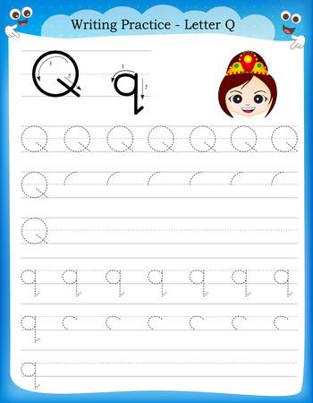 preescolar: Práctica de escritura letra Q hoja de trabajo imprimible con imágenes prediseñadas para los niños del preescolar  para mejorar las habilidades básicas de escritura Vectores