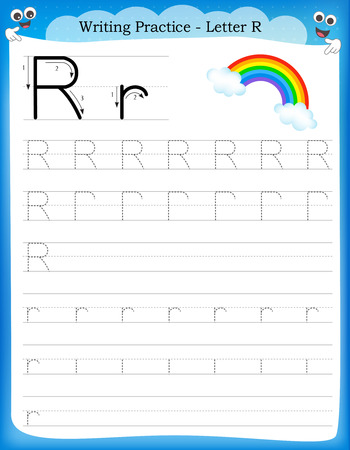 Writing practice letter R  printable worksheet with clip art for preschool / kindergarten kids to improve basic writing skills