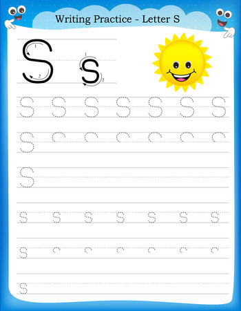 Writing practice letter S  printable worksheet woth clip art for preschool / kindergarten kids to improve basic writing skills Illustration