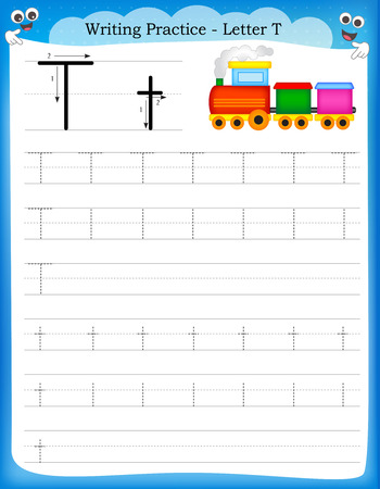 Writing practice letter T  printable worksheet with clip art for preschool  kindergarten kids to improve basic writing skills Illustration