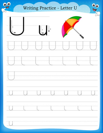 Writing practice letter U  printable worksheet with clip art for preschool / kindergarten kids to improve basic writing skills Ilustração
