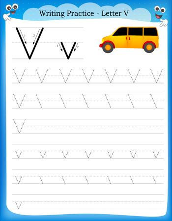 writing activity: Writing practice letter V  printable worksheet with clip art for preschool  kindergarten kids to improve basic writing skills