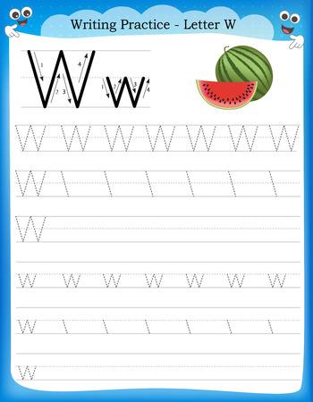Writing practice letter W  printable worksheet with clip art for preschool / kindergarten kids to improve basic writing skills  イラスト・ベクター素材