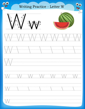 Writing practice letter W  printable worksheet with clip art for preschool / kindergarten kids to improve basic writing skills Vectores