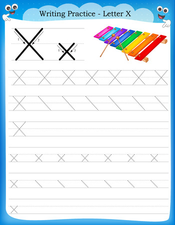 Writing practice letter X  printable worksheet with clip art for preschool / kindergarten kids to improve basic writing skills