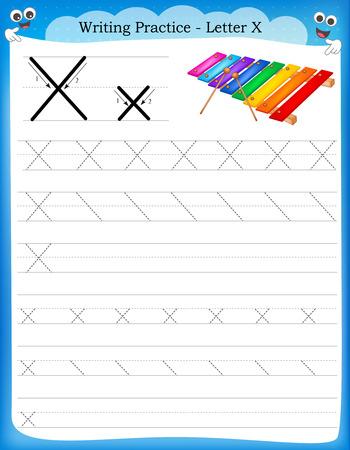 preescolar: Pr�ctica de escritura letra X hoja de trabajo imprimible con im�genes predise�adas para los ni�os del preescolar  para mejorar las habilidades b�sicas de escritura