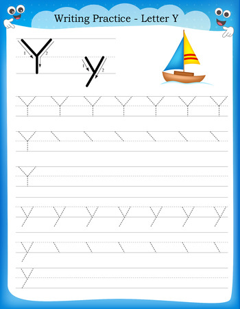 Writing practice letter Y  printable worksheet with clip art for preschool / kindergarten kids to improve basic writing skills