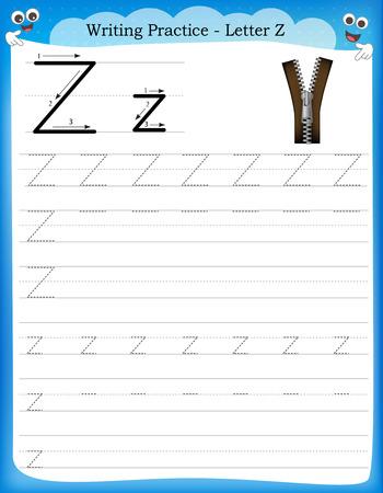 Writing practice letter Z  printable worksheet with clip art for preschool / kindergarten kids to improve basic writing skills Illustration