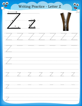 Writing practice letter Z  printable worksheet with clip art for preschool / kindergarten kids to improve basic writing skills Illusztráció