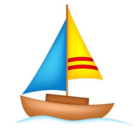 yacht isolated: Ilustraci�n de un yate de colores aislados sobre fondo blanco Vectores