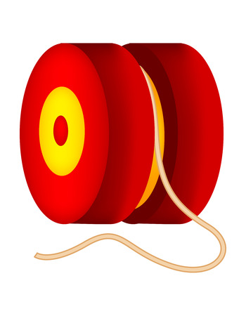 yo: Illustration of a red and yellow yo yo isolated on white background