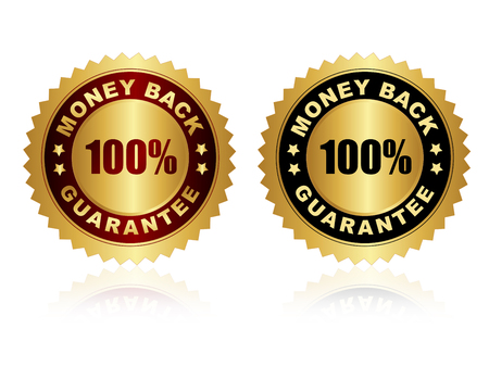 Risk Free: 100% money back guarantee stamps, seals with gold red and black