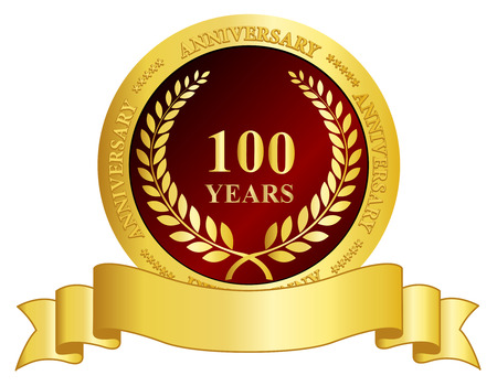 100 years anniversary golden color seal and ribbon graphic isolated on white Illustration
