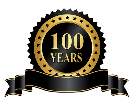100 year anniversary seal  stamp with ribbon Illustration