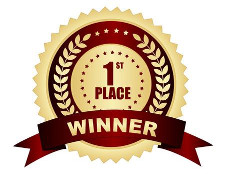 primer lugar: Primero el texto el lugar ganador en insignia de oro  sello con la cinta y laurel  estrellas Vectores