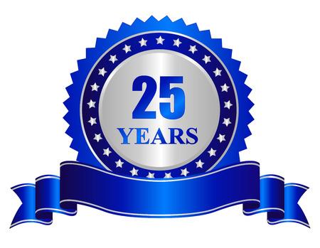 25 lat rocznica srebrny pieczęć / stempel z niebieską wstążką banner Ilustracje wektorowe