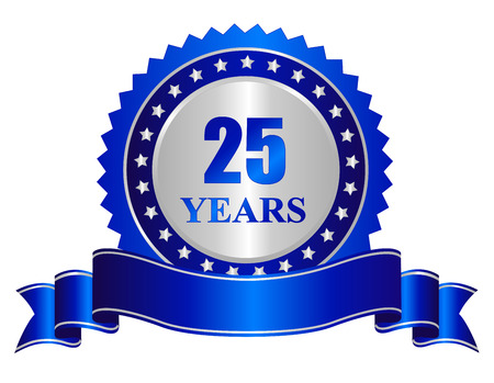 25 years anniversary silver color seal / stamp with blue ribbon banner Imagens - 38528943