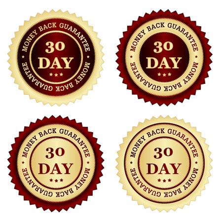 30 dagen geld terug garantie zegels in verschillende kleuren rood en goud Stock Illustratie