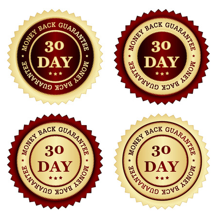30 days money back guarantee stamps in different colors red and gold