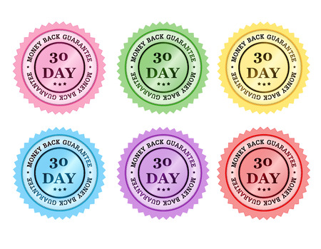 seal stamp: 30 days money back guarantee colorful seal  stamp collection Illustration