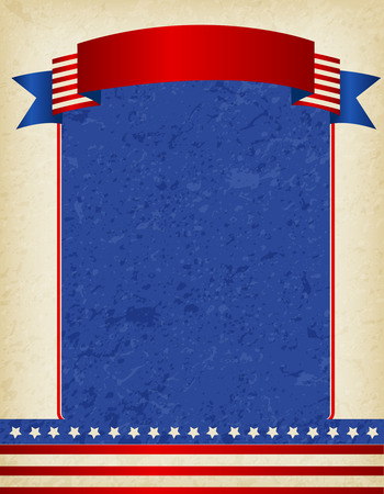 national border: American  USA grunge patriotic frame with ribbon banner on top. A traditional vintage american poster design
