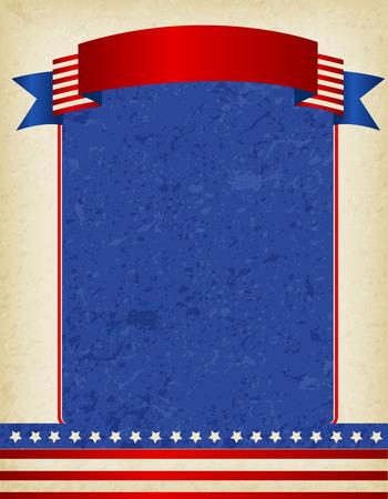 american poster:  EE.UU. grunge marco patri�tico americano con bandera de la cinta en la parte superior. Un dise�o del cartel de American Vintage tradicional