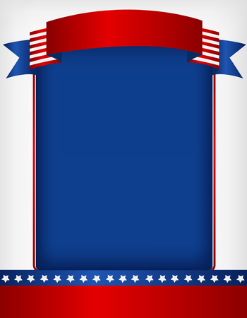 USA patriotic 4 th of july frame with banner on top Vector