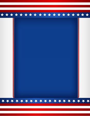 national border: Red and blue American flag border  frame