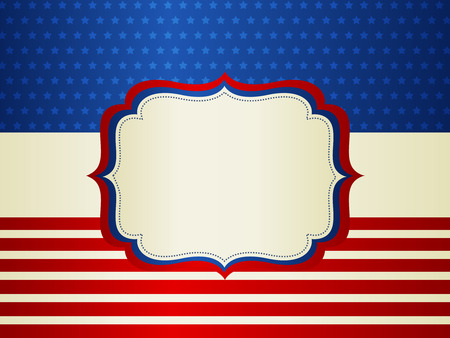 American  USA stars and stripes patriotic frame with empty space on center A traditional vintage american poster design Vector